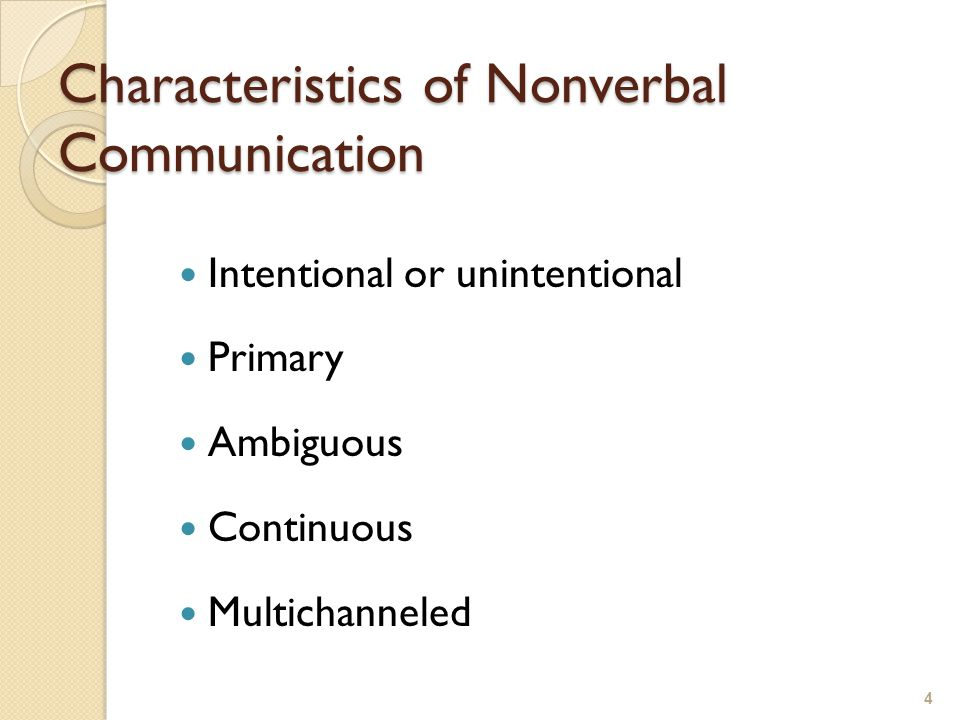 Characteristics of Nonverbal Communication