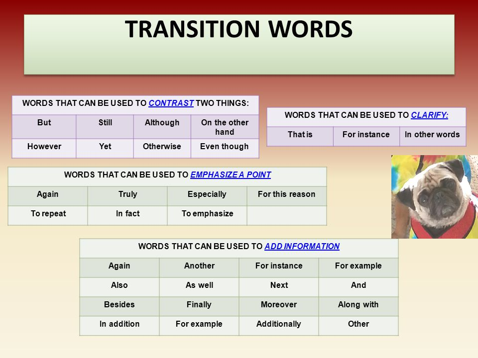 TRANSITION WORDS WORDS THAT CAN BE USED TO CONTRAST TWO THINGS: But
