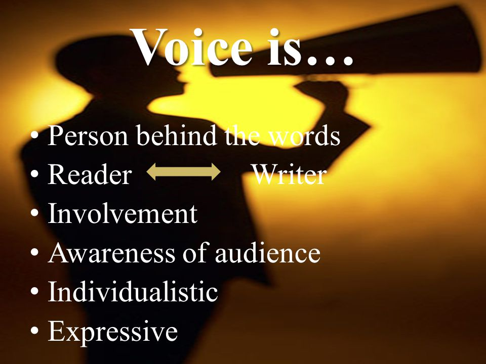 Voice is… Person behind the words Reader Writer Involvement