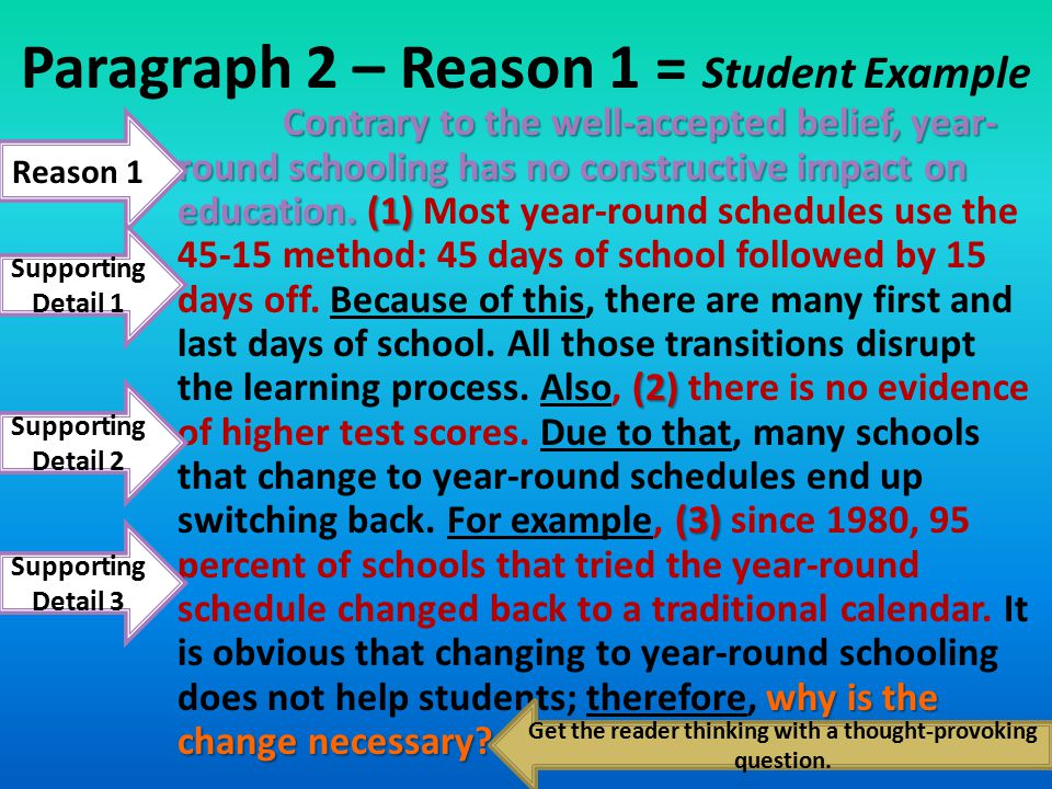 Paragraph 2 – Reason 1 = Student Example