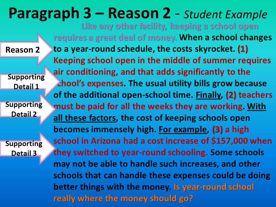 Paragraph 3 – Reason 2 - Student Example