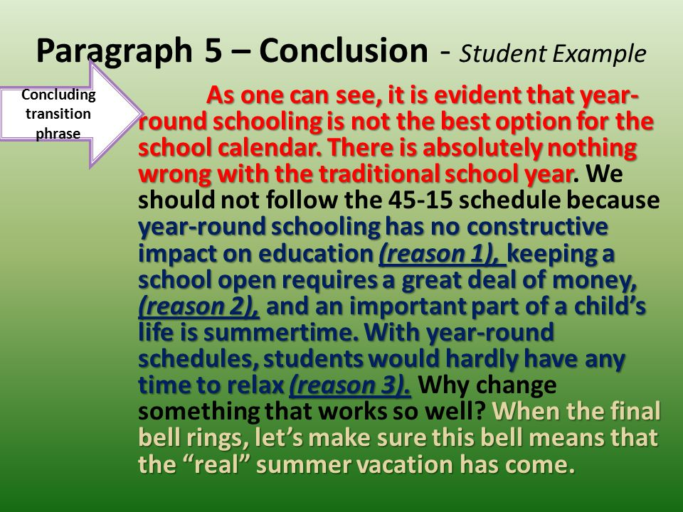 Paragraph 5 – Conclusion - Student Example
