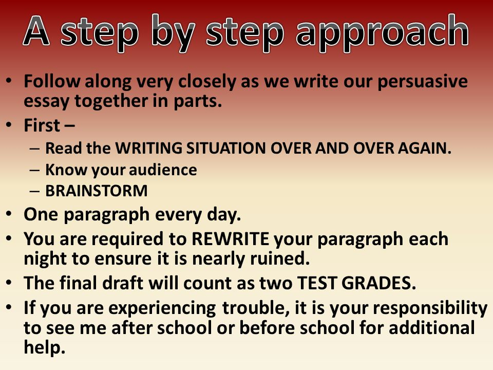 what are the steps to writing a persuasive essay Best feeling in the world is changing your finished essay from 11 pt font to 12 and single space to double inflammation research paper good concluding sentences for an essay jocasta reine nancy houston critique essay.