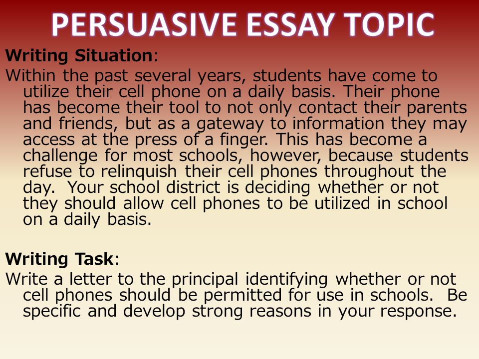Argumentative essay cell phones in school