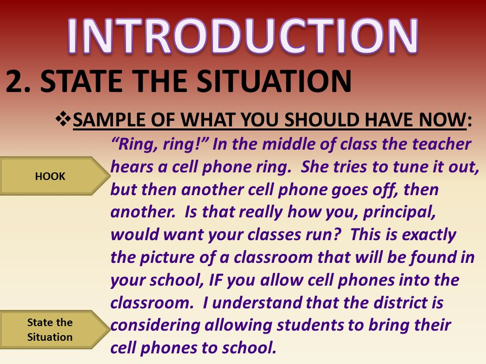 INTRODUCTION 2. STATE THE SITUATION