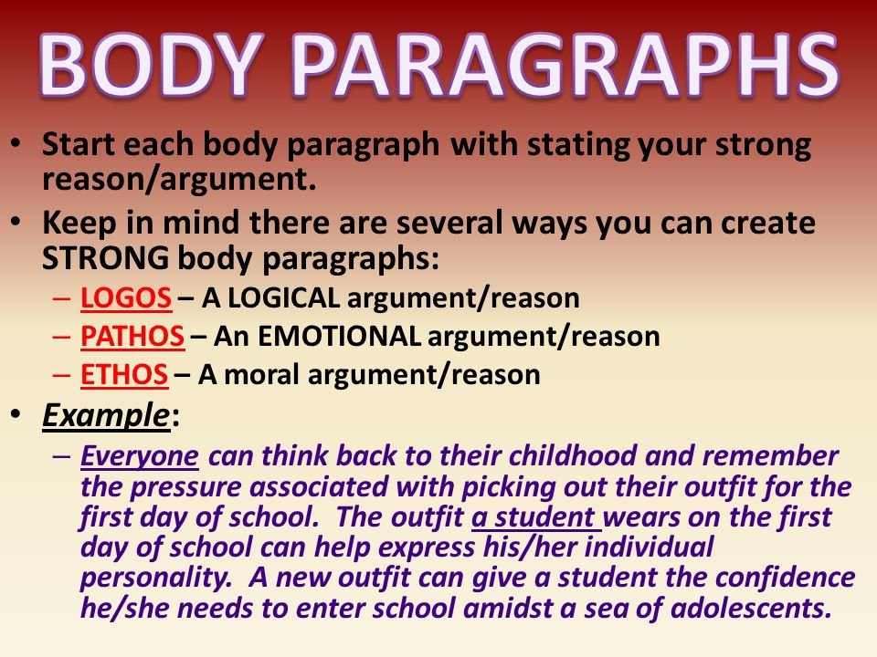 BODY PARAGRAPHS Start each body paragraph with stating your strong reason/argument.