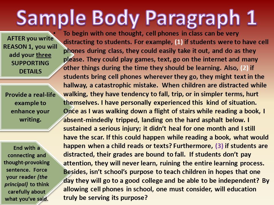 Sample Body Paragraph 1