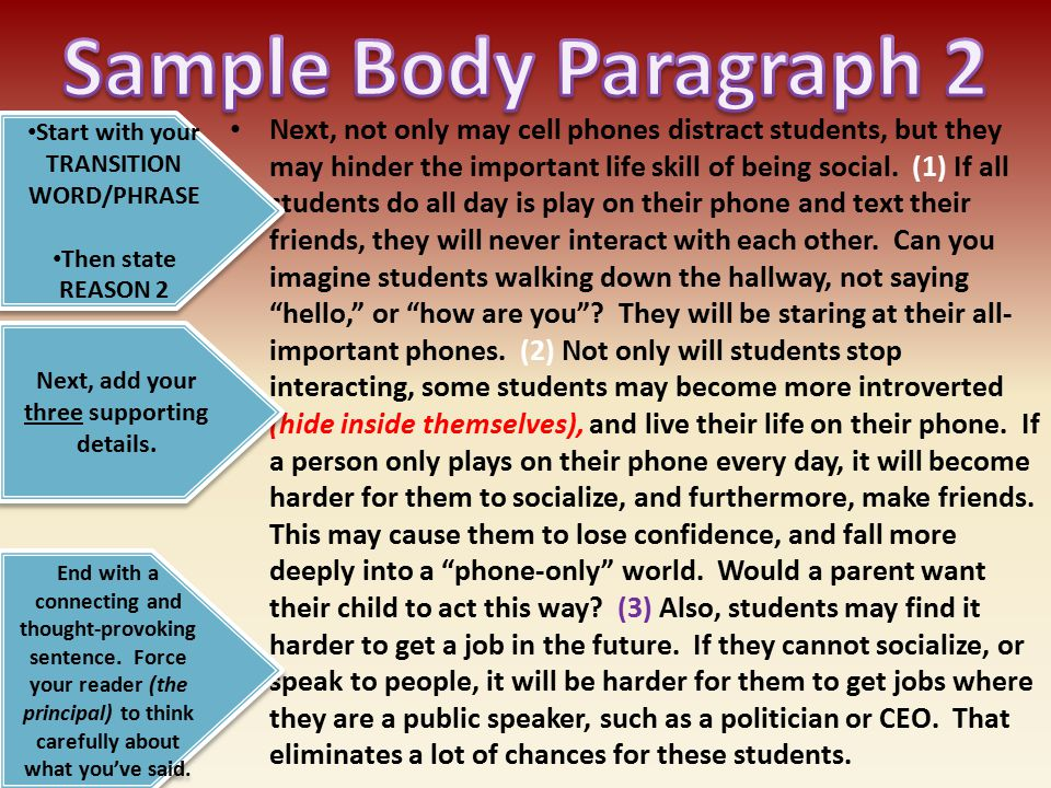 Sample Body Paragraph 2