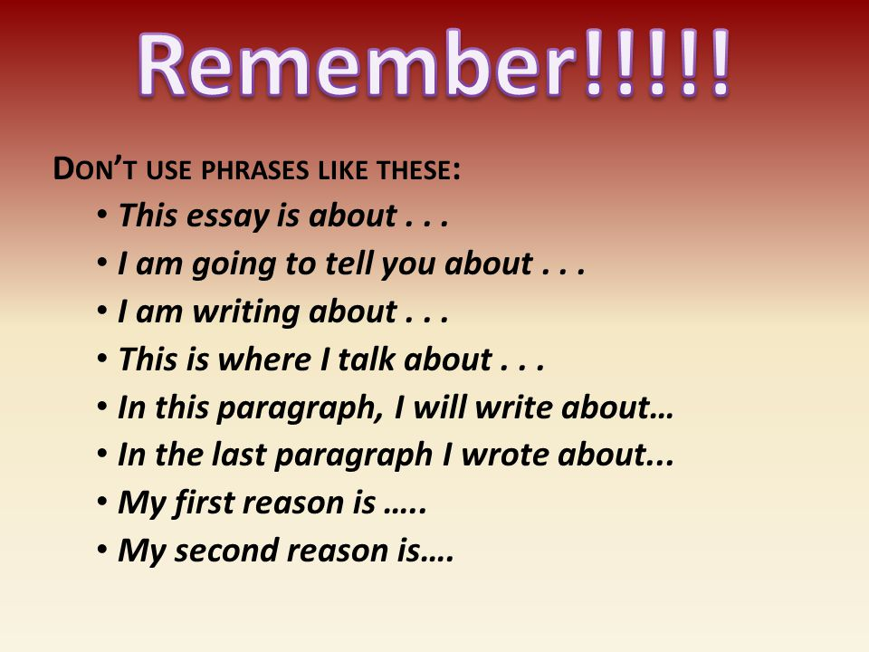 Remember!!!!! Don't use phrases like these: This essay is about . . .