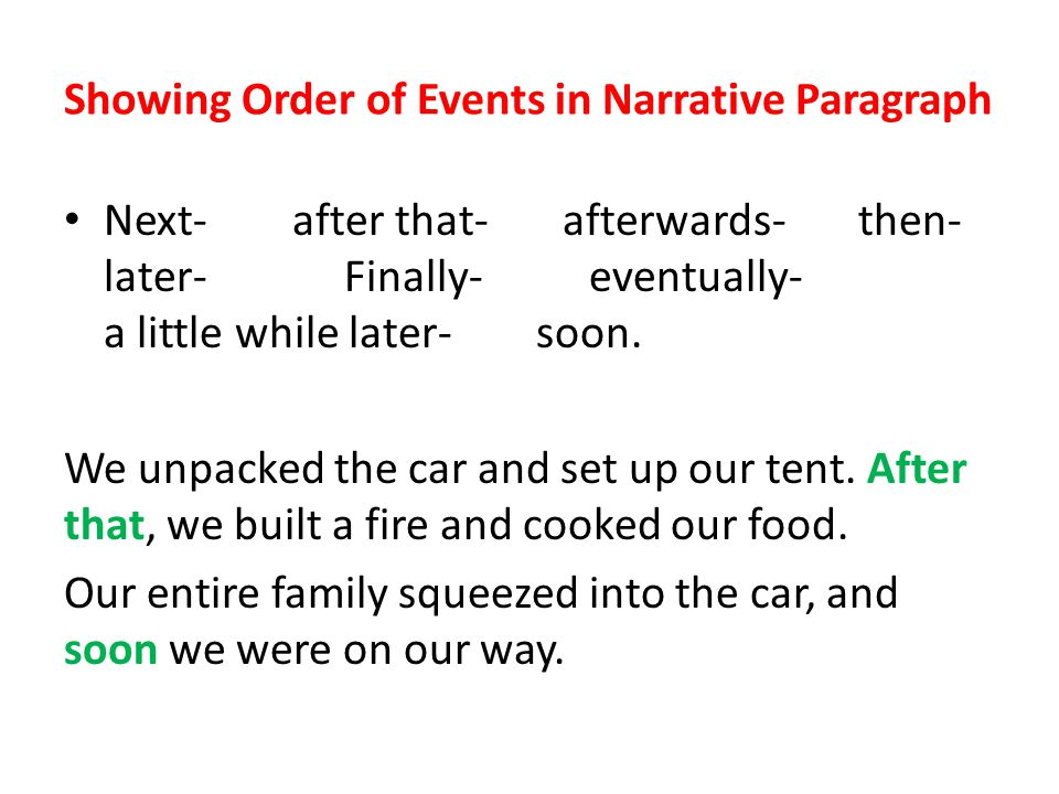 Showing Order of Events in Narrative Paragraph