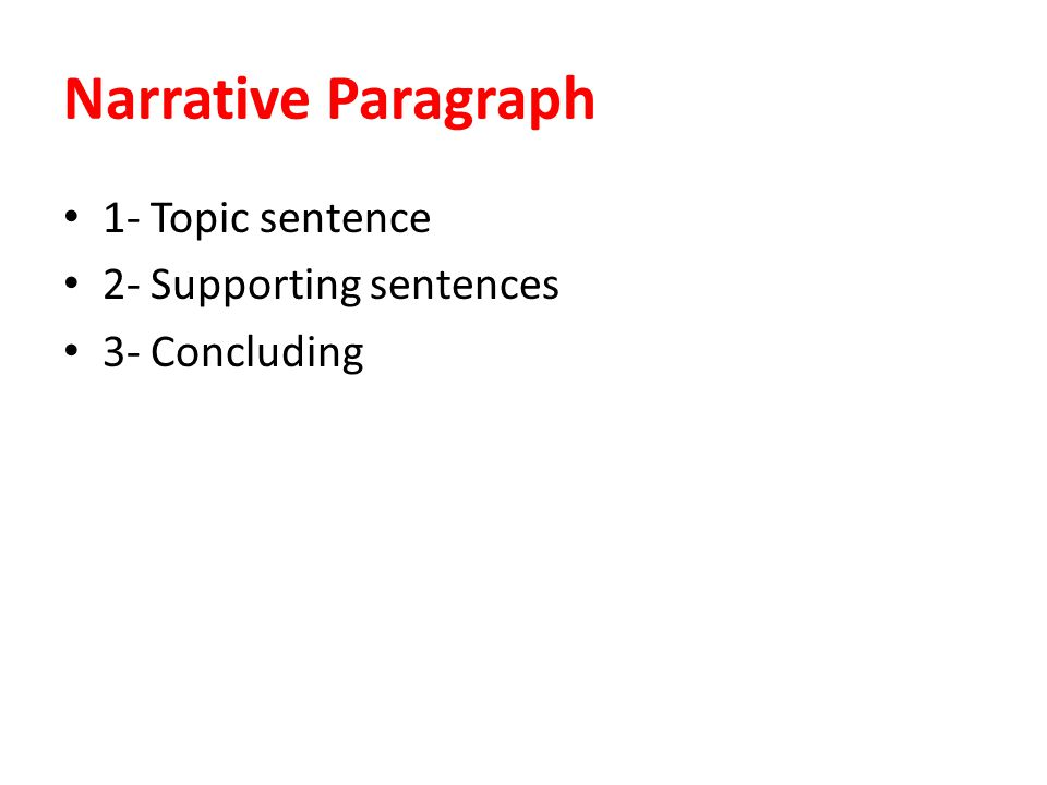 Narrative Paragraph 1- Topic sentence 2- Supporting sentences