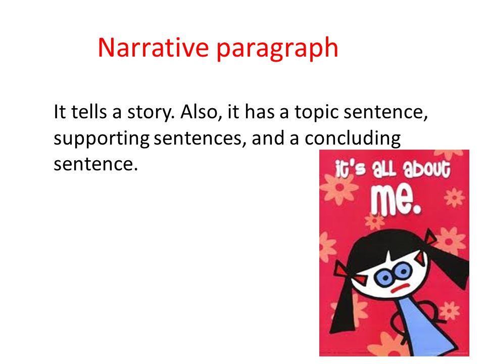 Narrative paragraph It tells a story.