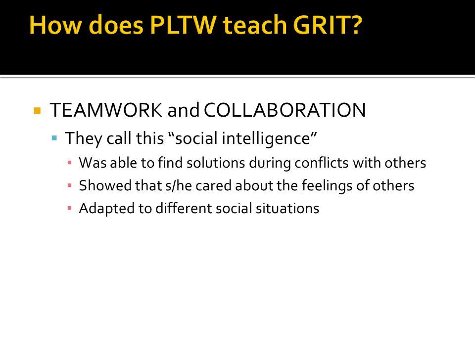 How does PLTW teach GRIT