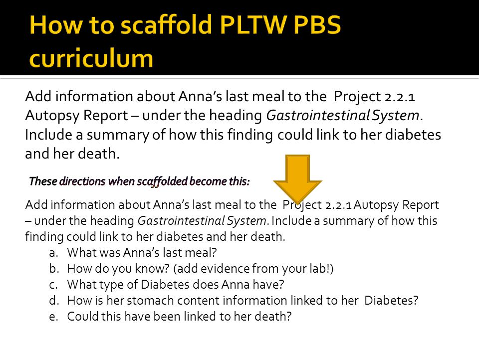 How to scaffold PLTW PBS curriculum