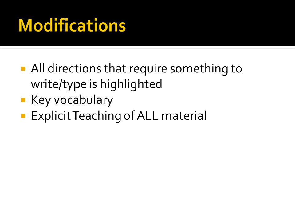 Modifications All directions that require something to write/type is highlighted.
