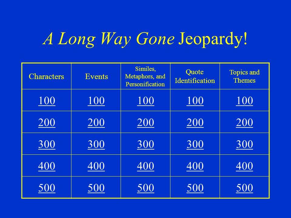 A Long Way Gone Jeopardy!