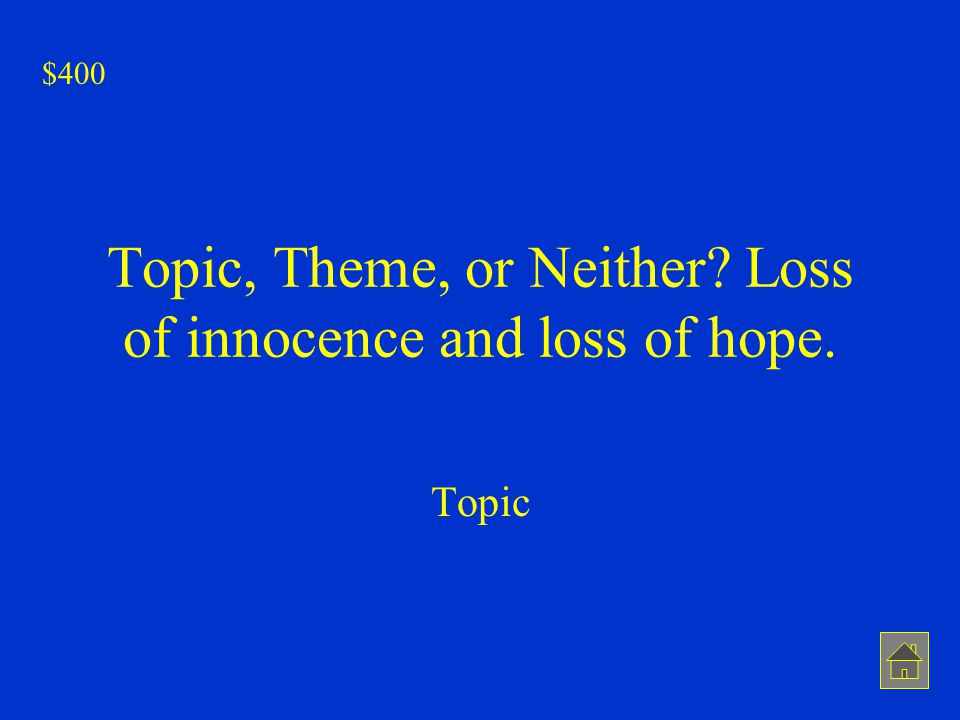 Topic, Theme, or Neither Loss of innocence and loss of hope.