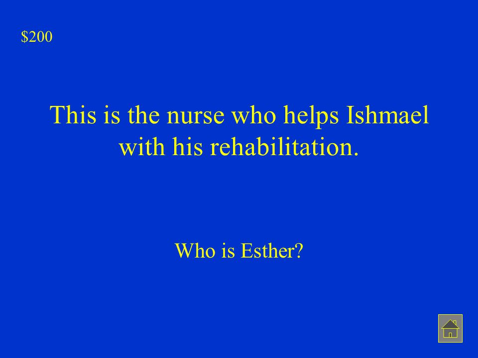 This is the nurse who helps Ishmael with his rehabilitation.