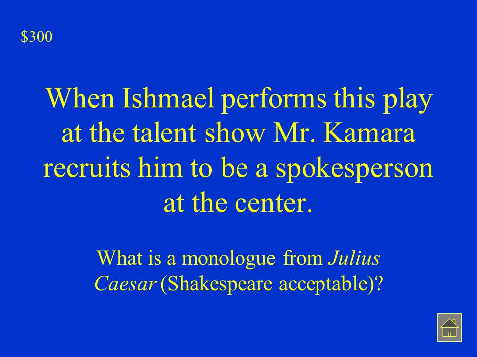 What is a monologue from Julius Caesar (Shakespeare acceptable)