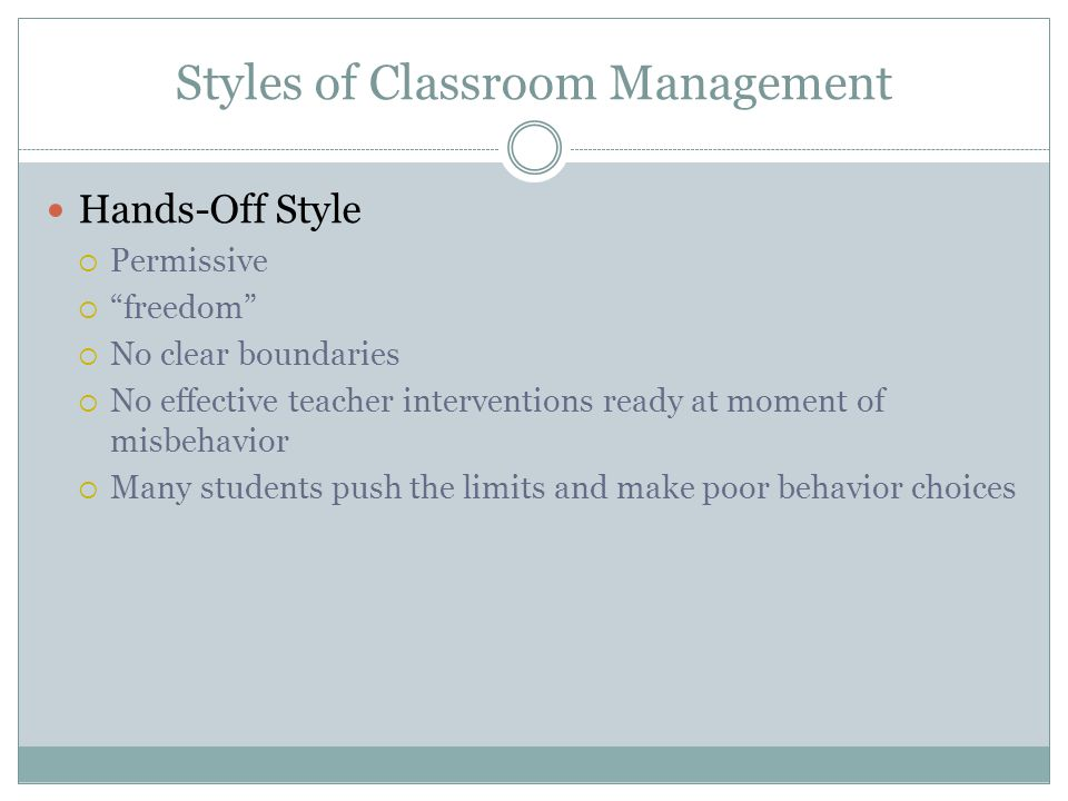 Styles of Classroom Management