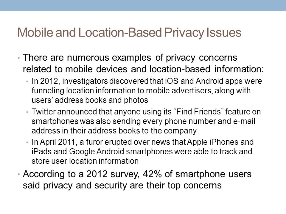 Mobile and Location-Based Privacy Issues