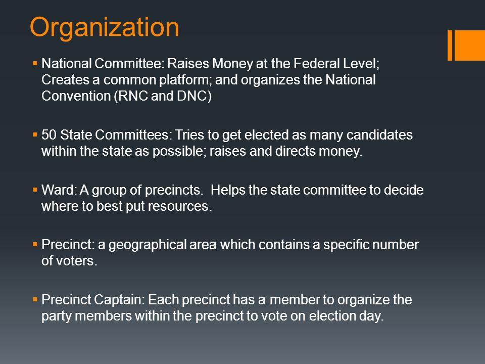 Organization National Committee: Raises Money at the Federal Level; Creates a common platform; and organizes the National Convention (RNC and DNC)