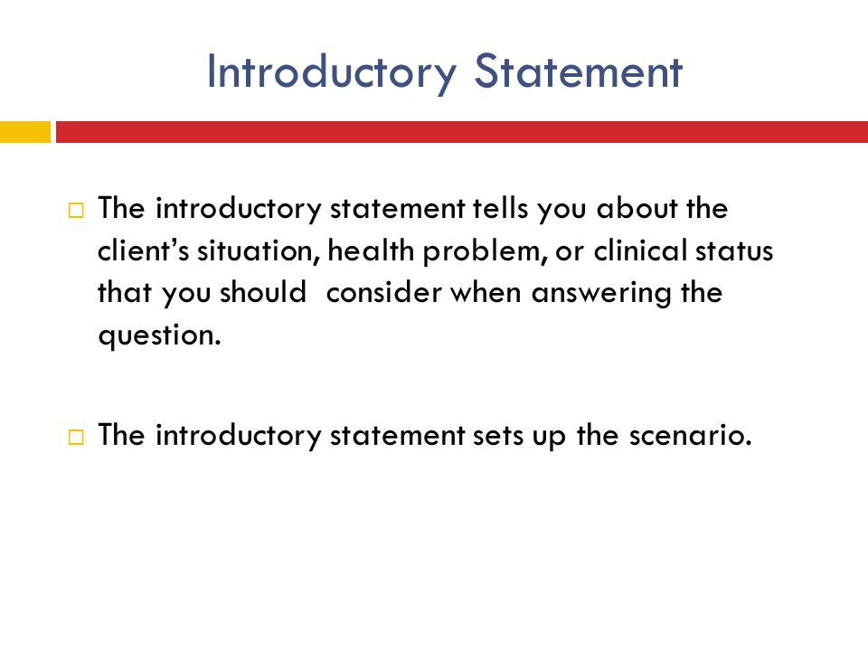 Introductory Statement
