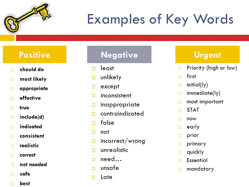 Examples of Key Words Positive Negative Urgent least unlikely except