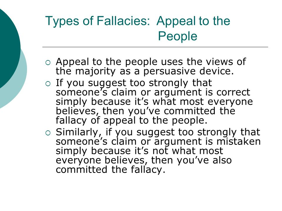 Types of Fallacies: Appeal to the People