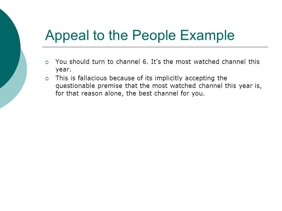 Appeal to the People Example
