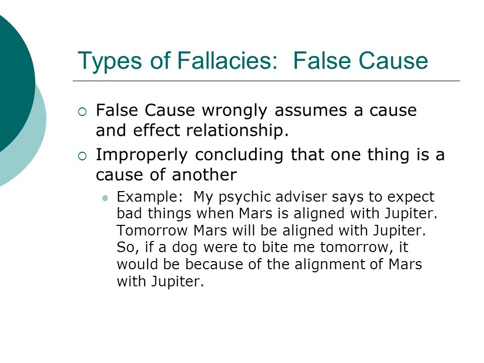 Types of Fallacies: False Cause