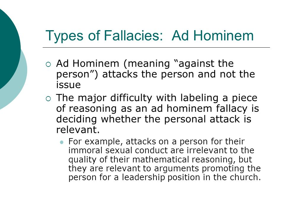 Types of Fallacies: Ad Hominem