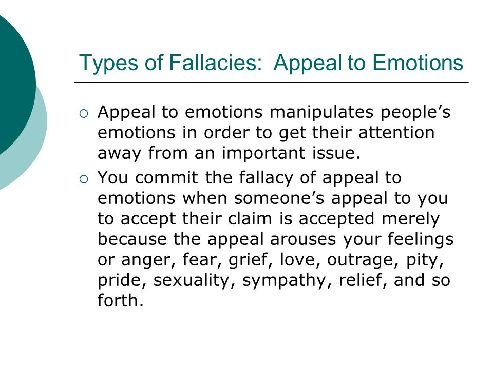 Types of Fallacies: Appeal to Emotions
