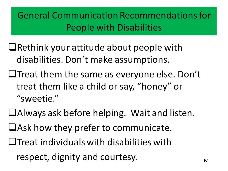 General Communication Recommendations for People with Disabilities