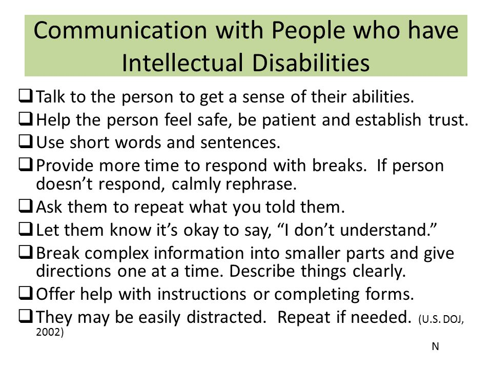 Communication with People who have Intellectual Disabilities