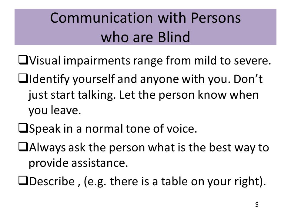 Communication with Persons who are Blind