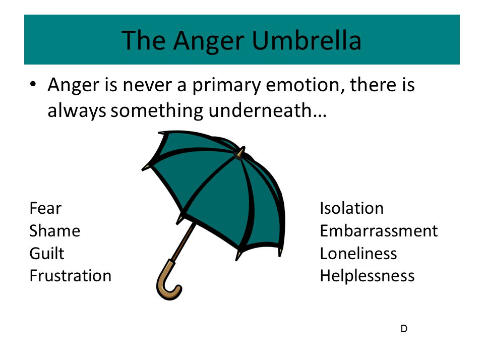 The Anger Umbrella Anger is never a primary emotion, there is always something underneath… Fear Isolation.