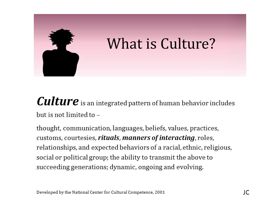 What is Culture Culture is an integrated pattern of human behavior includes but is not limited to –