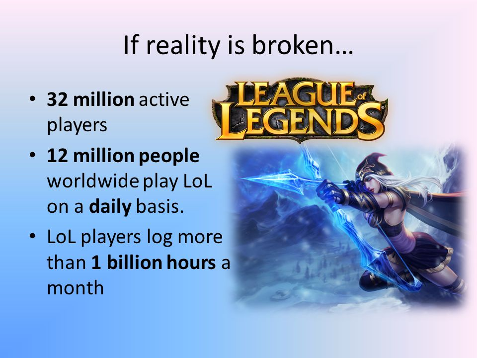 If reality is broken… 32 million active players