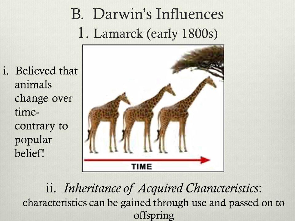 B. Darwin's Influences 1. Lamarck (early 1800s)