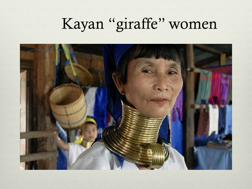 Kayan giraffe women Mountains between Burma and Thailand.