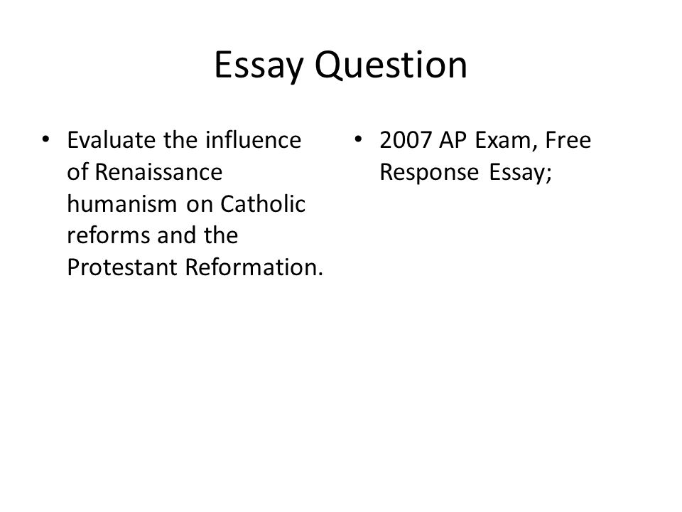 ap euro essay questions renaissance Jacoby, dave (soc st) jones, tina (english) keegan summer assignment for all new ap euro students documentary on renaissance - questions sheet.