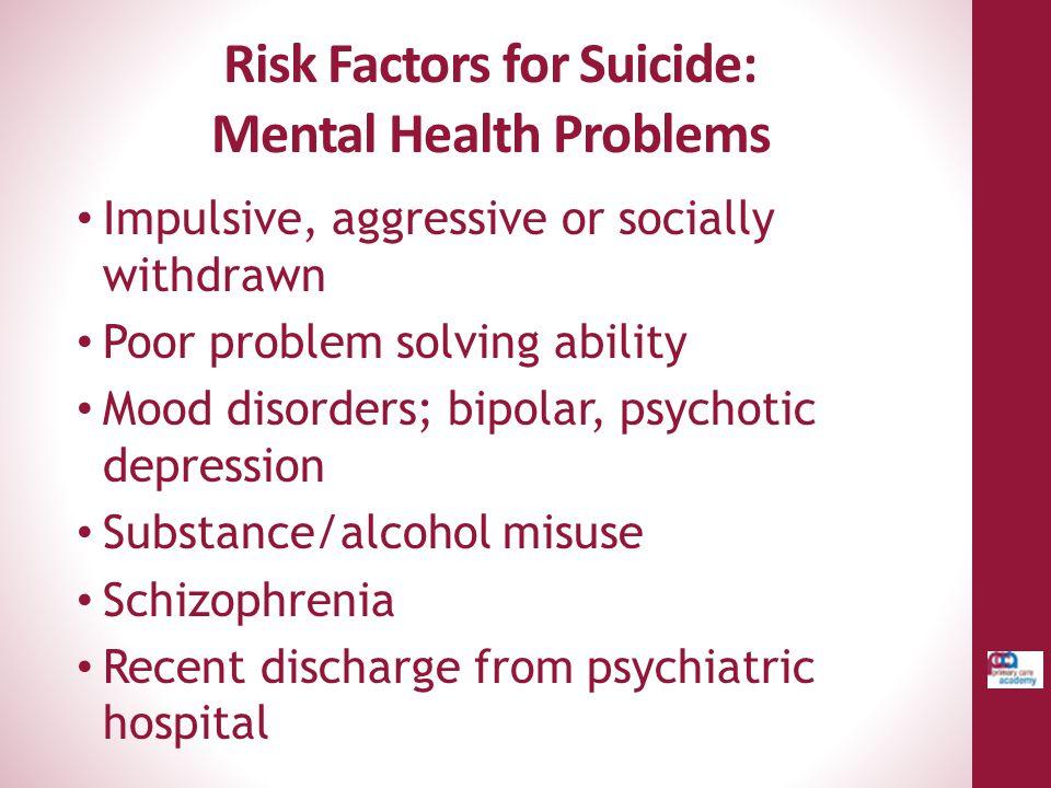 Risk Factors for Suicide: Mental Health Problems