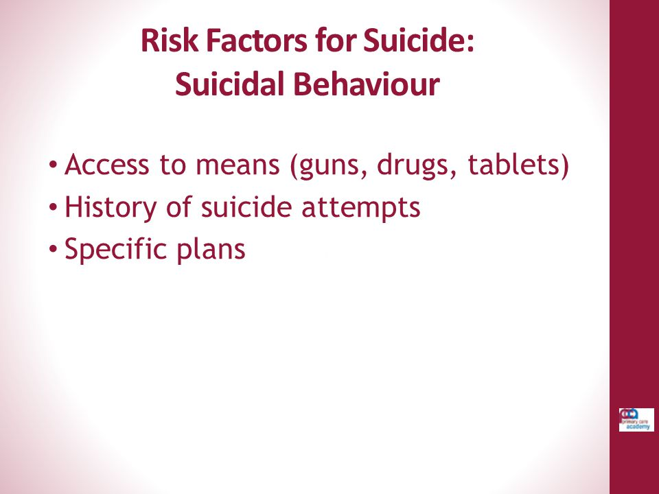 Risk Factors for Suicide: Suicidal Behaviour