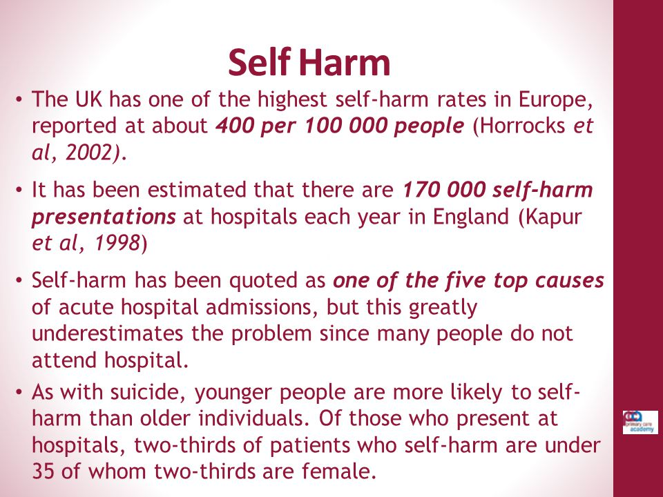 Self Harm The UK has one of the highest self-harm rates in Europe, reported at about 400 per 100 000 people (Horrocks et al, 2002).