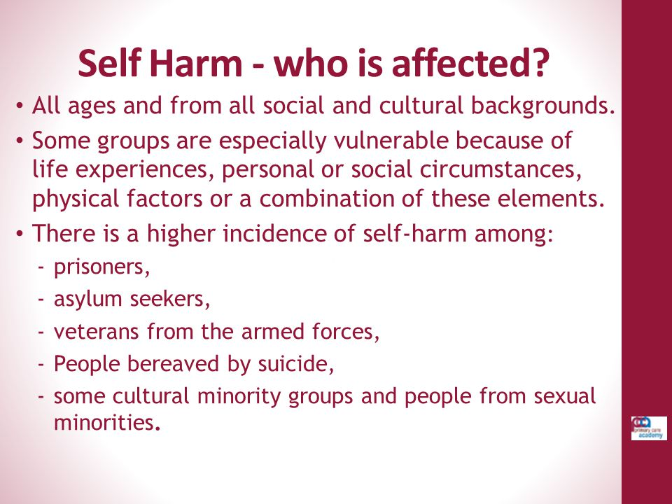 Self Harm - who is affected