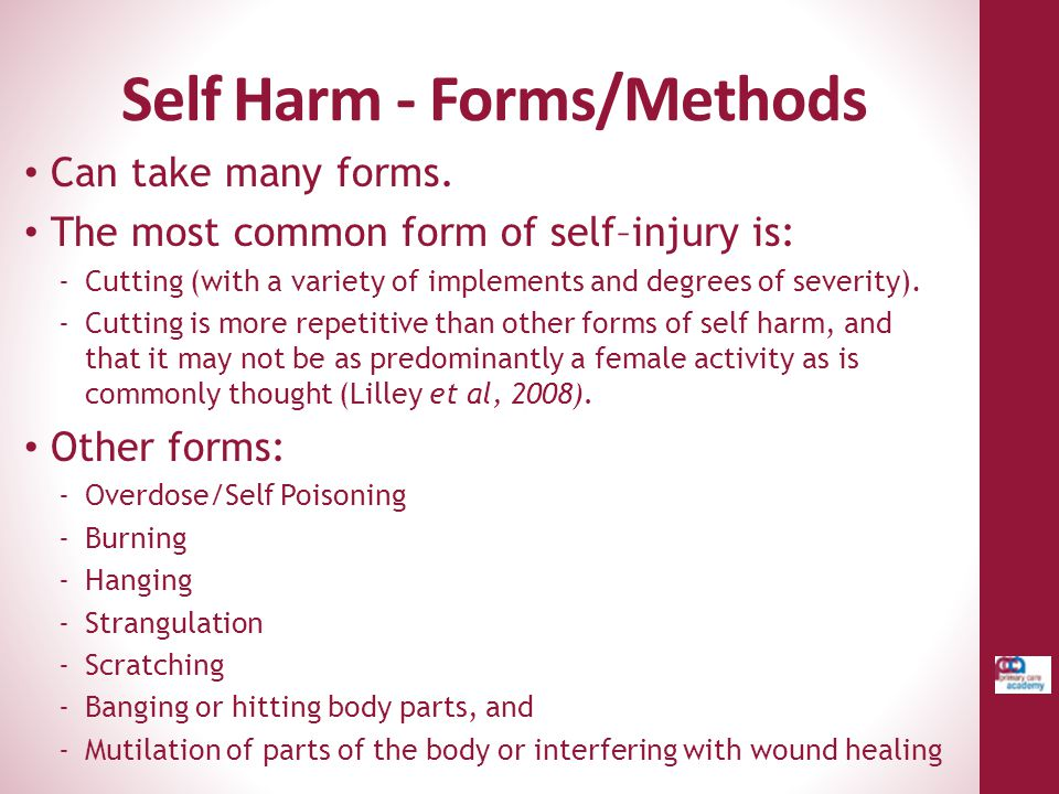 Self Harm - Forms/Methods
