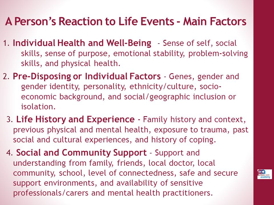 A Person's Reaction to Life Events - Main Factors