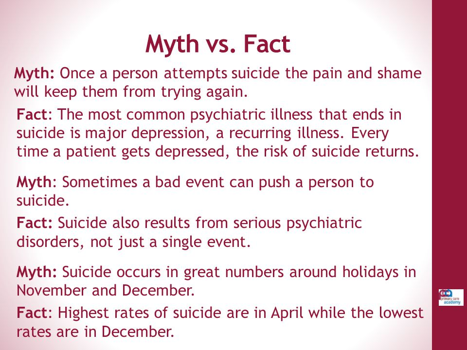 Myth vs. Fact Myth: Once a person attempts suicide the pain and shame will keep them from trying again.
