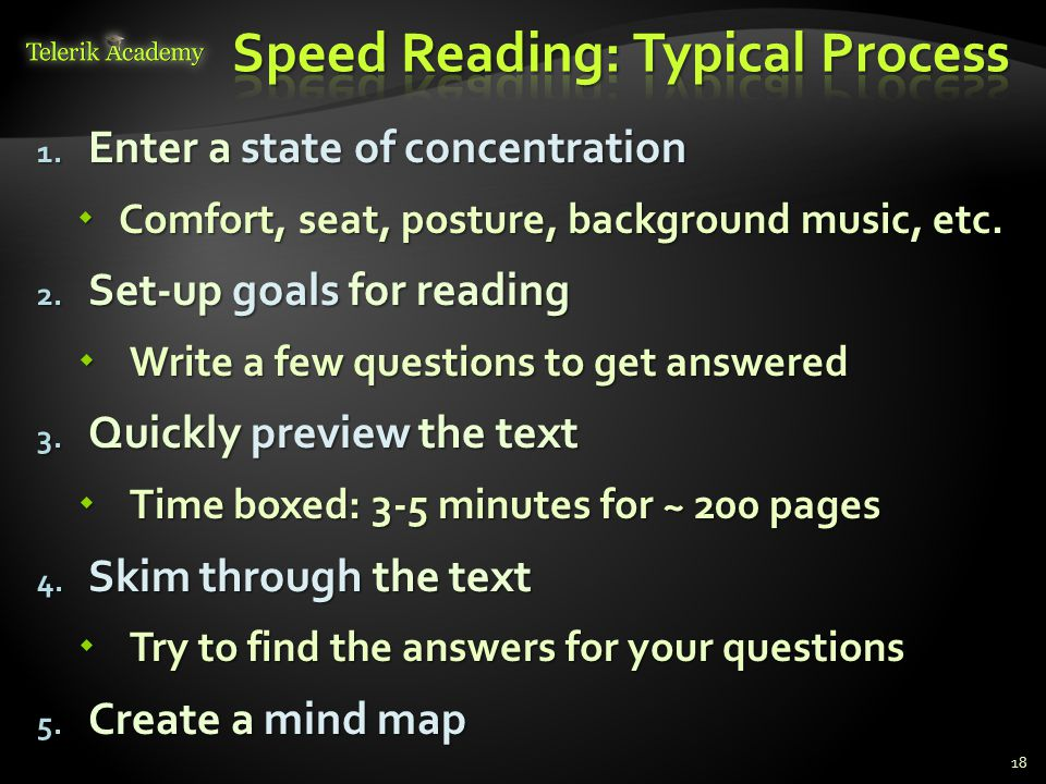 Speed Reading: Typical Process